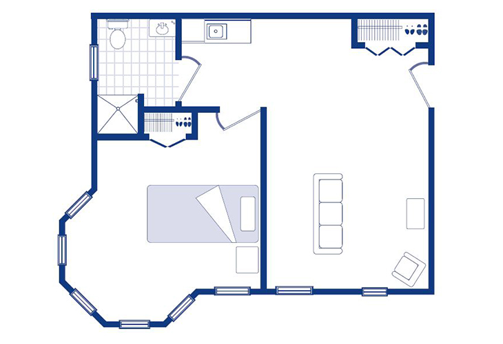 Morningside of Sterling Memory Care One Bedroom Deluxe Floor Plan