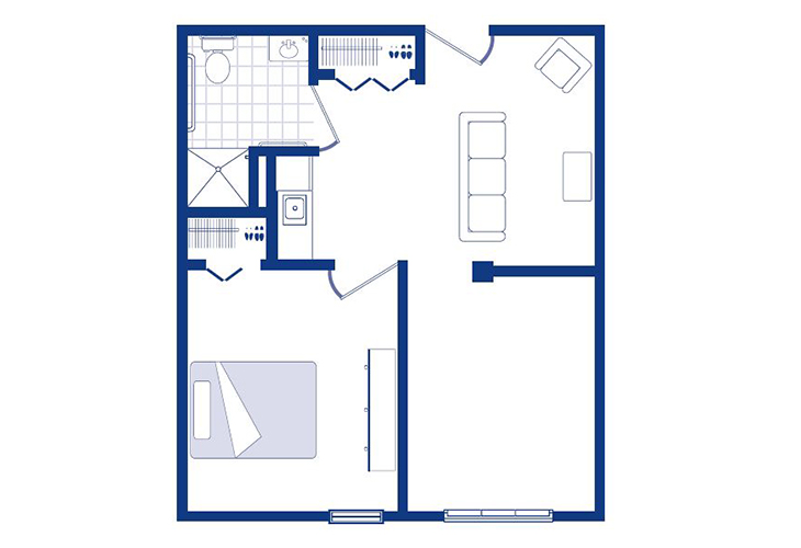 Morningside of Sterling Memory Care One Bedroom Floor Plan