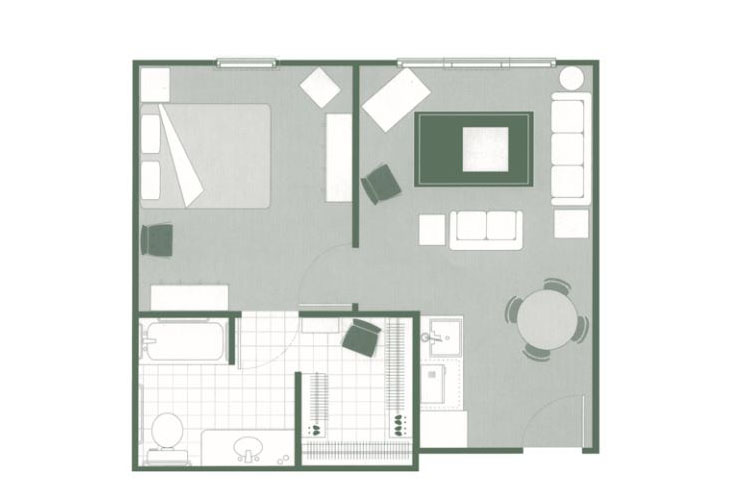Morningside of Sumter Assisted Living One Bedroom Deluxe Floor Plan