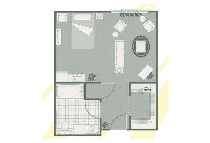 Morningside of Sumter Assisted Living Deluxe Studio Floor Plan