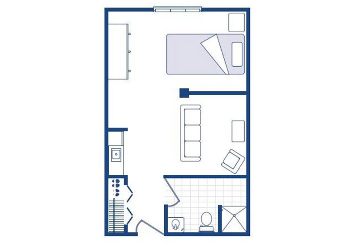Morningside of Washington Assisted Living Studio Deluxe Floor Plan