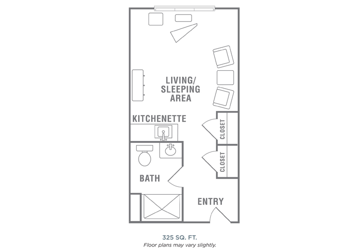 Morningside of Wilmington Assisted Living Courtyard with Kitchenette Floor Plan