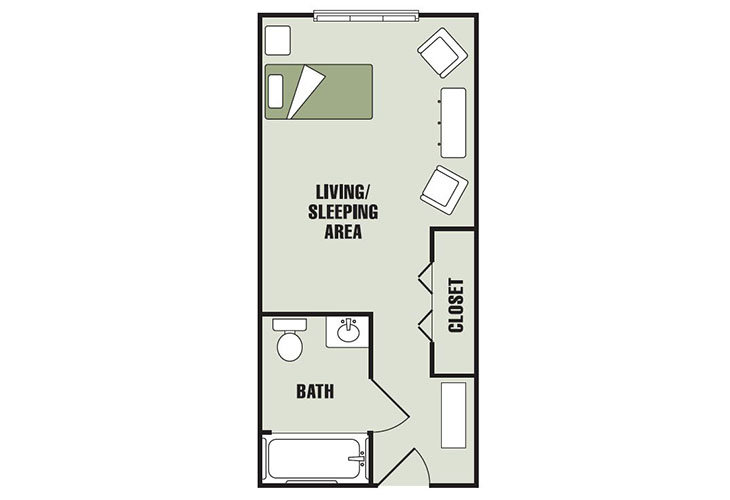 Morningview at Irving Park Assisted Living Deluxe Studio Floor Plan