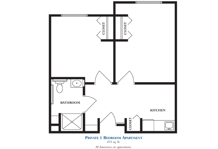 Mt. Arlington Memory Care Private One Bedroom Floor Plan