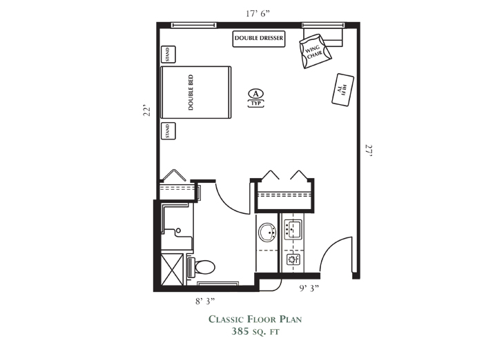 Northlake Gardens Assisted Living Classic Floor Plan
