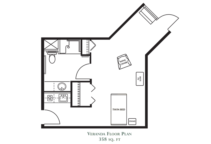 Northlake Gardens Assisted Living Veranda Suite A Floor Plan