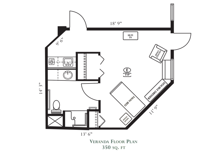 Northlake Gardens Assisted Living Veranda Suite B Floor Plan