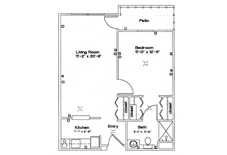 Northwood Manor Independent Living One Bedroom Floor Plan