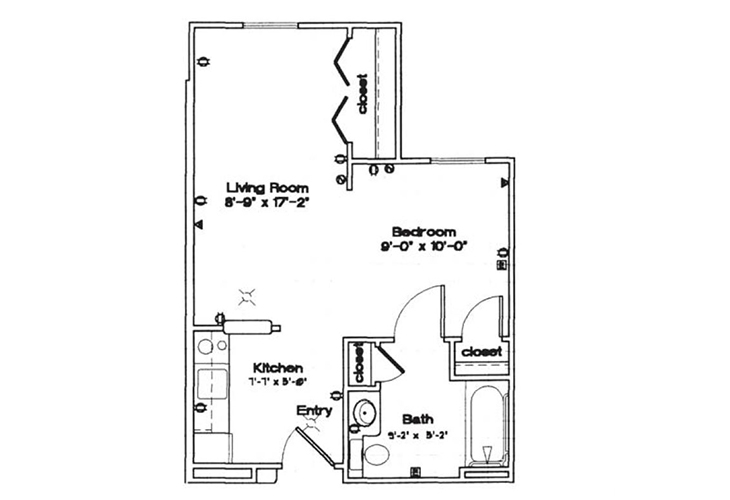 Northwood Manor Independent Living Studio Floor Plan