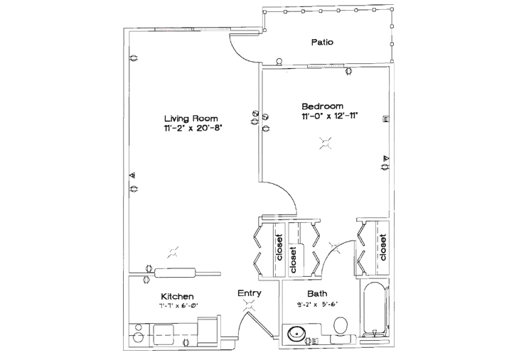 Oak Woods Manor Independent Living One Bedroom B Floor Plan