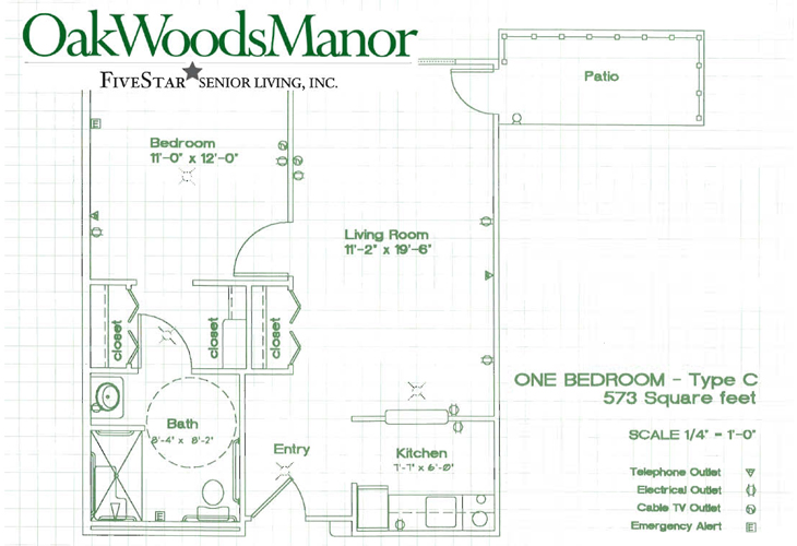 Oak Woods Manor Independent Living One Bedroom C Floor Plan