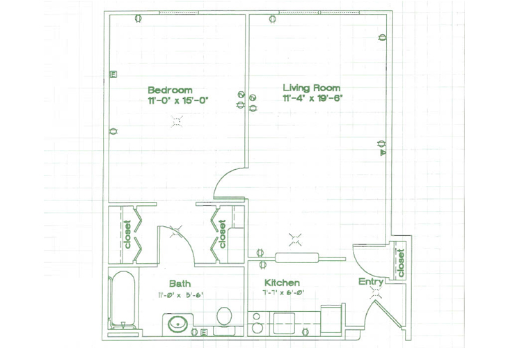 Oak Woods Manor Independent Living One Bedroom D Floor Plan