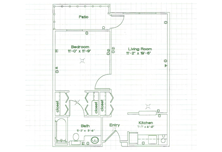 Oak Woods Manor Independent Living One Bedroom E Floor Plan