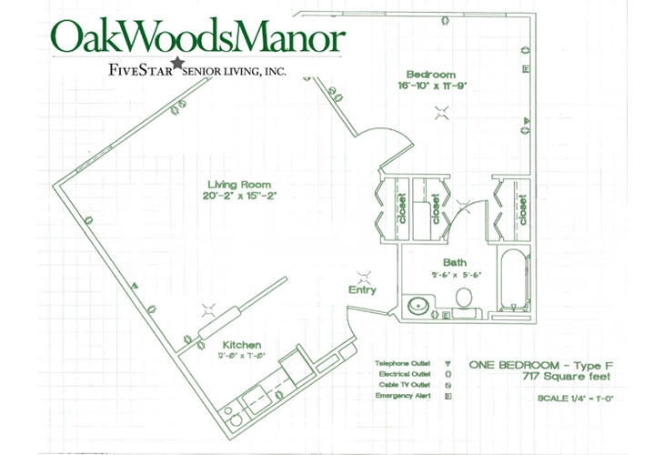 Oak Woods Manor Independent Living One Bedroom F Floor Plan
