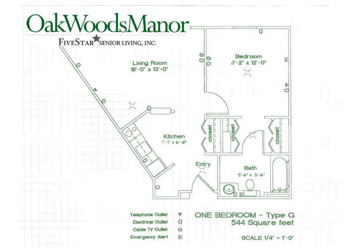 Oak Woods Manor Independent Living One Bedroom G Floor Plan
