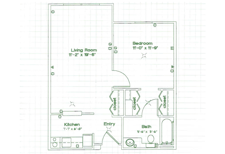 Oak Woods Manor Independent Living One Bedroom K Floor Plan