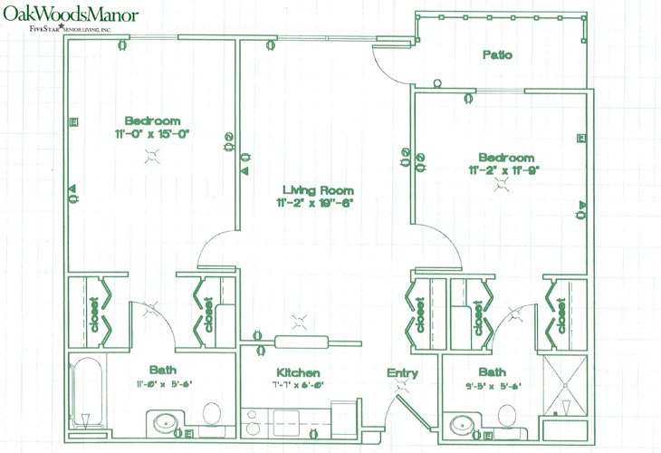 Oak Woods Manor Independent Living Two Bedroom A Floor Plan