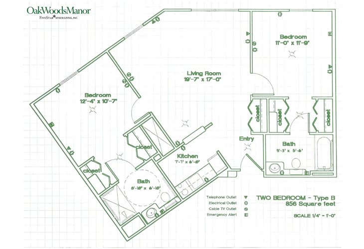 Oak Woods Manor Independent Living Two Bedroom B Floor Plan