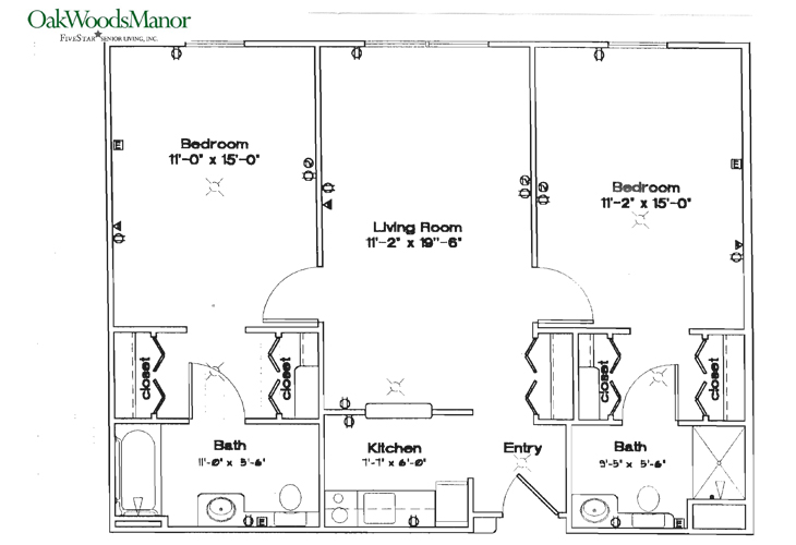 Oak Woods Manor Independent Living Two Bedroom C Floor Plan