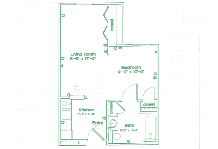 Oak Woods Manor Independent Living Studio B Floor Plan