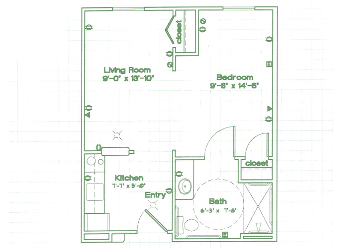 Oak Woods Manor Independent Living Studio C Floor Plan