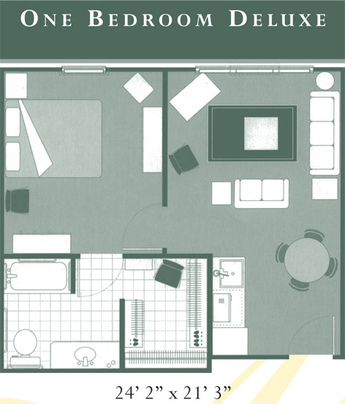Overlook at Cedarcrest Memory Care One Bedroom Deluxe Floor Plan