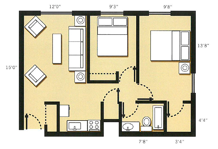 Dayton Place Independent Living 2 Bedroom 1 Bath Floor Plan