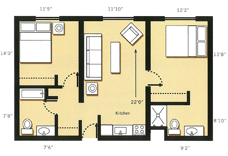 Dayton Place Independent Living 2 Bedroom 2 Bath Floor Plan