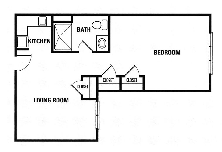 Forest Heights Assisted Living 1 Bedroom Suite Floor Plan