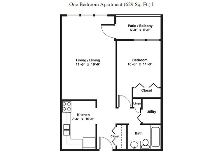 Forum at Brookside Independent Living One Bedroom Floor Plan