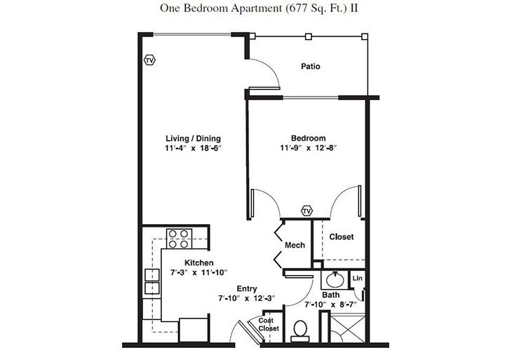 Forum at Brookside Personal Care One Bedroom (1) Floor Plan