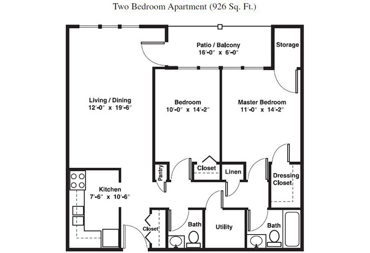 Forum at Brookside Independent Living Two Bedroom (3) Floor Plan