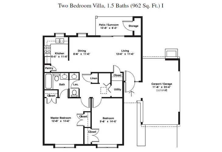 Forum at Brookside Independent Living Two Bedroom (1) Floor Plan