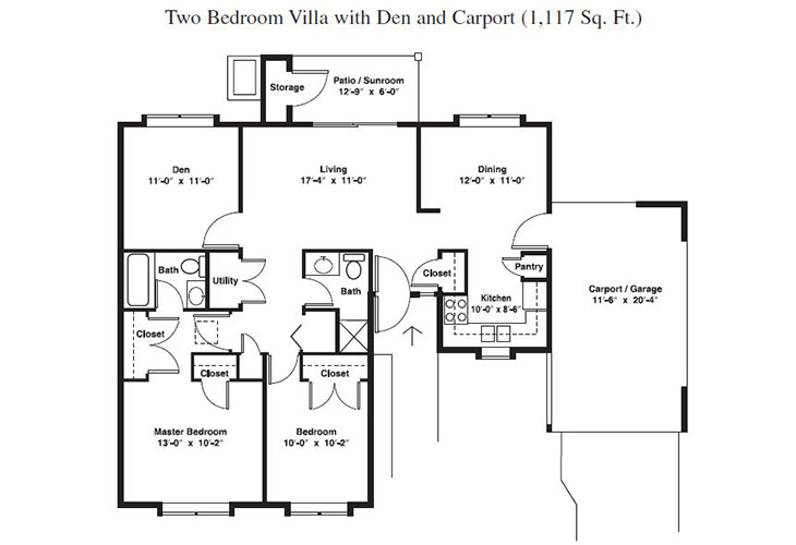 Forum at Brookside Independent Living Two Bedroom (2) Floor Plan
