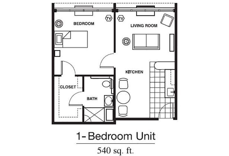 Forum at Brookside Personal Care One Bedroom (2) Floor Plan