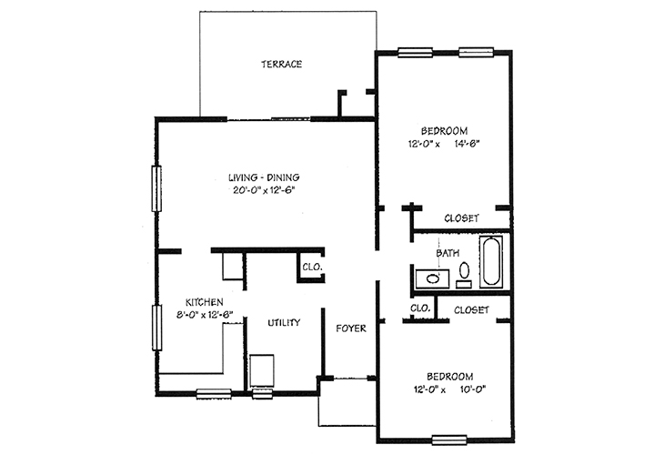 Foulk Manor North Independent Living Two Bedroom Cottage Floor Plan