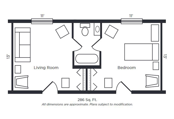 Foulk Manor South Memory Care One Bedroom Suite Floor Plan