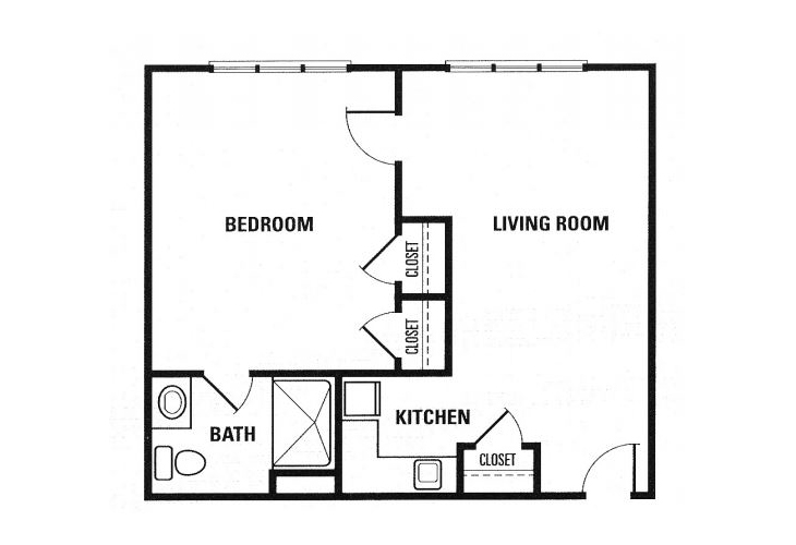 Fox Hollow Memory Care One Bedroom Floor Plan