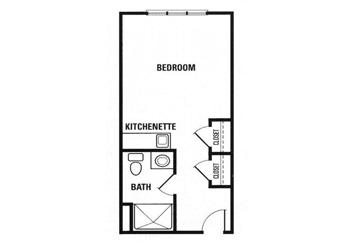 Fox Hollow Memory Care Deluxe Studio Kitchen Floor Plan