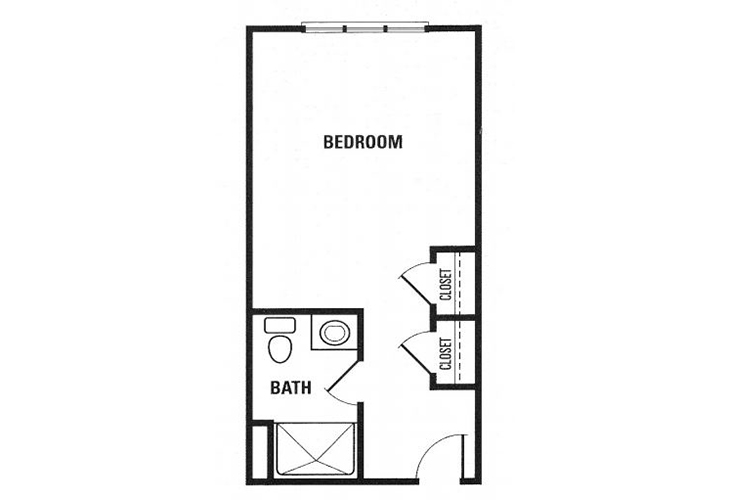 Fox Hollow Memory Care Deluxe Studio Floor Plan
