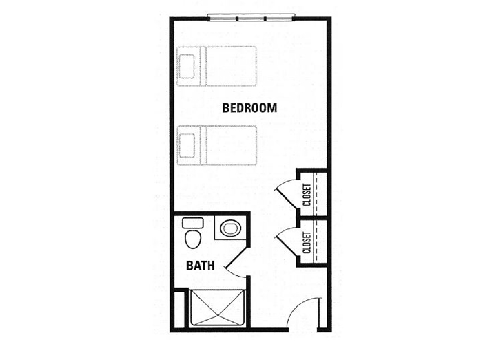 Fox Hollow Assisted Living Semi Private Studio Floor Plan