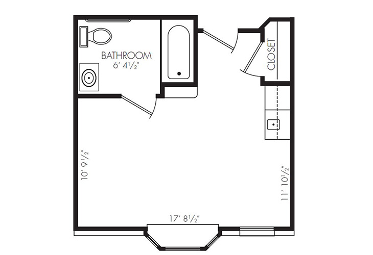 Gateway Villa and Gateway Gardens Assisted Living ADA Studio Floor Plan
