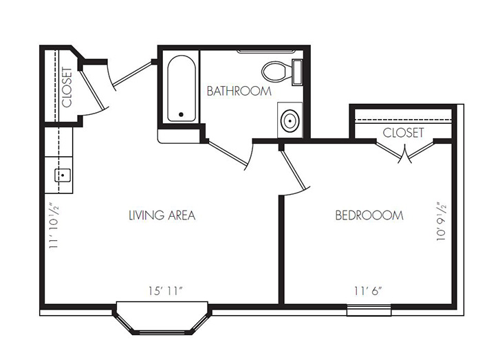 Gateway Villa and Gateway Gardens Assisted Living ADA One Bedroom Floor Plan