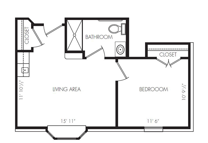 Gateway Villa and Gateway Gardens Assisted Living One Bedroom Floor Plan