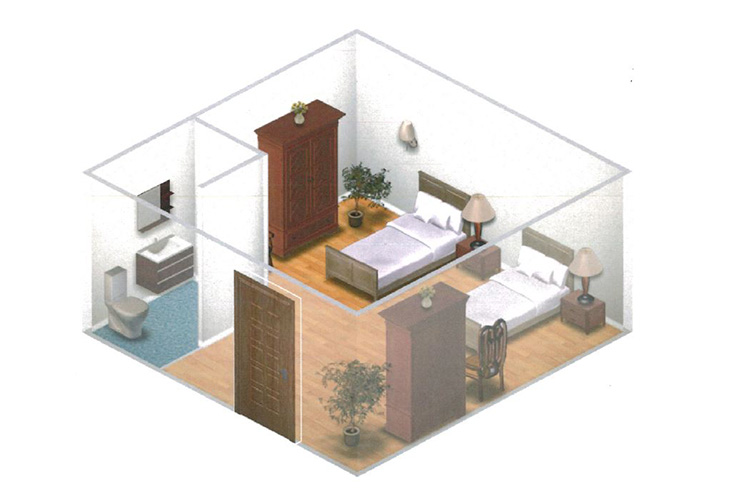 Somerford Place of Stockton Memory Care Small Shared Room Floor Plan