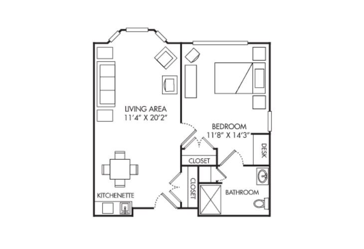 Summit Place of Beaufort Assisted Living One Bedroom Apartment Floor Plan