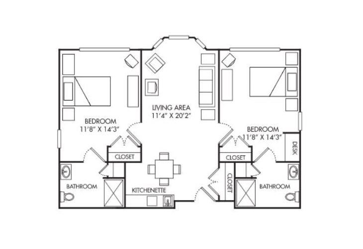 Summit Place of Beaufort Assisted Living Two Bedroom Apartment Floor Plan