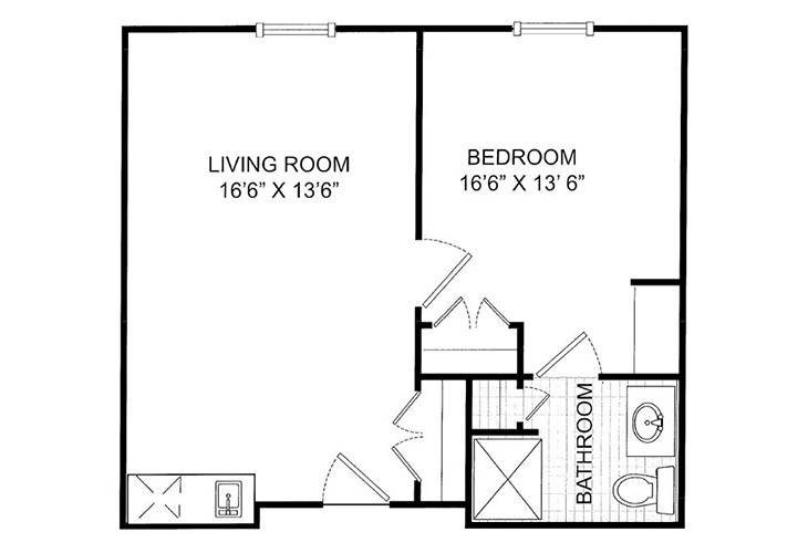 Summit Place of Kings Mountain Assisted Living One Bedroom Floor Plan