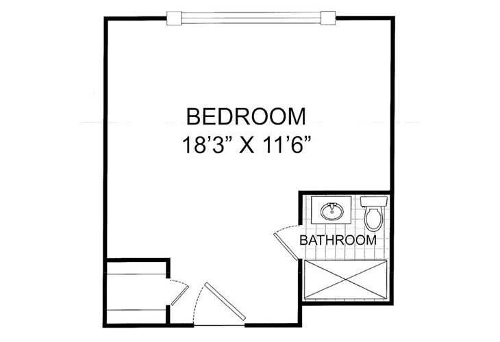 Summit Place of Kings Mountain Memory Care Deluxe Studio Floor Plan