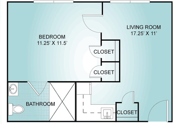 Summit Place of South Park Memory Care One Bedroom B Floor Plan